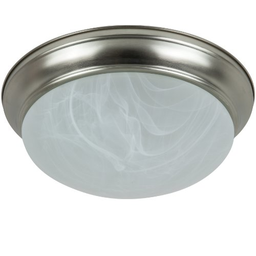 Sunlite DBN14/AL/GU24/ES 14-Inch Energy Saving Dome Ceiling Fixture, Brushed Nickel Finish with Alabaster Glass