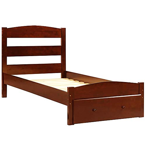Wood Platform Bed Frame with Storage and Headboard, Wooden Bed Frame, Twin (Walnut)