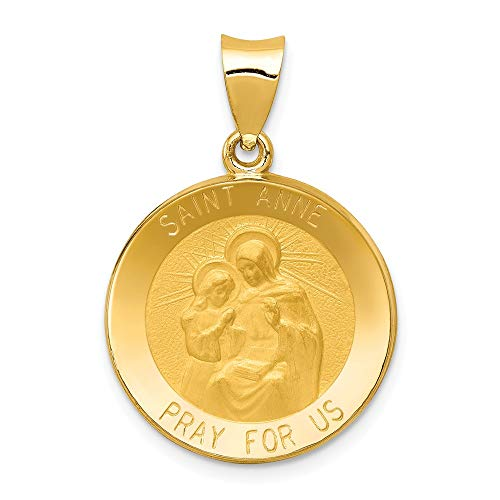 (14k Yellow Gold Saint Anne Medal Pendant Charm Necklace Religious Patron St Fine Jewelry Gifts For Women For Her )