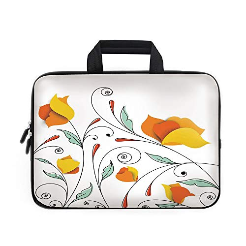 Floral Laptop Carrying Bag Sleeve,Neoprene Sleeve Case/Bouquet with Swirled Branches Romantic Paper Flowers Origami Autumn Blooms Image/for Apple Macbook Air Samsung Google Acer HP DELL Lenovo AsusMin
