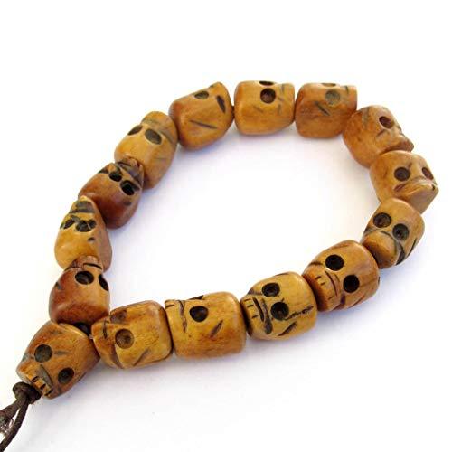OVALBUY Ox Bone Skull Beads Tibetan Buddhist Prayer Meditation Wrist Mala Bracelet ()