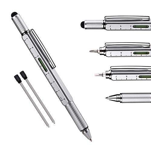 Useful Gadgets Business Gift for men, 6 in 1 Sliver tool pen with Ruler, Level gauge, Ballpoint Pen, Stylus and 2 Screw…