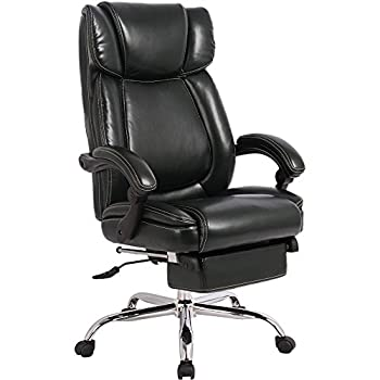 Merax Inno Series Executive High Back Napping Chair with Adjustable Pivoting Lumbar and Padded Footrest for Home and Office (Black)
