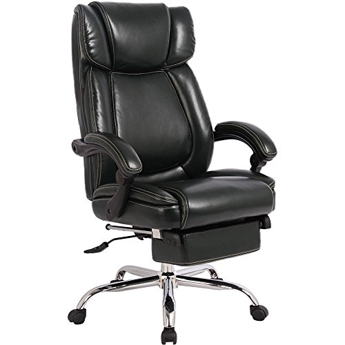 Merax Inno Series Executive High Back Napping Chair with Adjustable Pivoting Lumbar and Padded Footrest for Home and Office (Black) ()