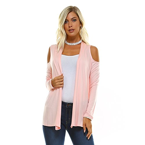 Isaac Liev Women's Cold Shoulder Cut Out Lightweight Cardigan, S-XXXL (Large, Blush)