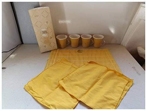 - Viet's Hand Rattan Placemats - Retro Harvest Gold Table Talk Raffia Ware Cups, Napkins and Placemats