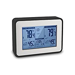 Indoor Outdoor Thermometer Digital Hygrometer Large Display Humidity Temperature Monitor Multifunctional Weather Station with Alarm Clock