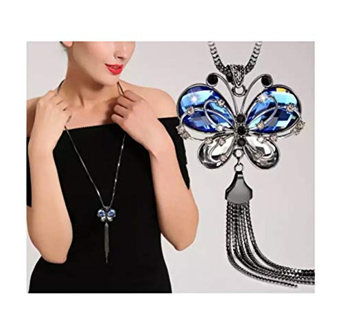 Nataliya Triple Layer Pendant Necklace (Blue Crystal Butterfly Pendant)