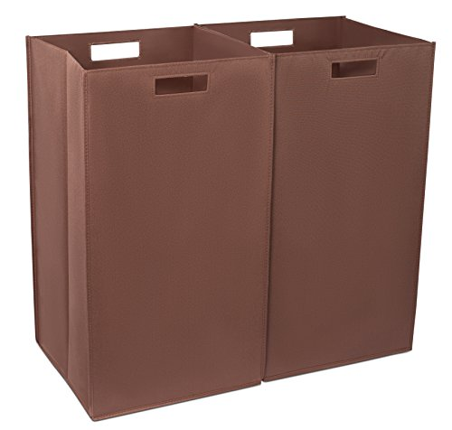 Internet's Best Collapsible Laundry Hamper | Set of 2 | Dirty Clothes Sorter with Handles | Magnetic Side | Easy Storage | Folding | Brown ()