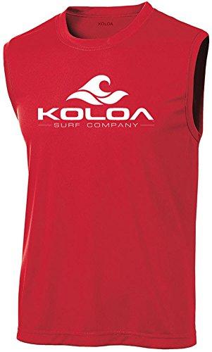 Koloa Surf Wave Logo Moisture Wicking Sleeveless T-Shirt-Red/White-XL ()