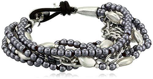(Lucky Brand Women's Pearl Cluster Bracelet, Silver, One Size)