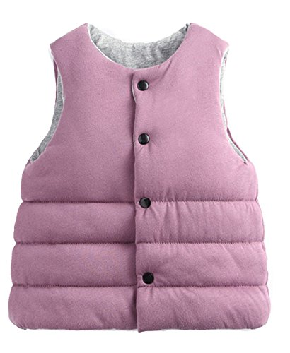 Roffatide Children's Reversible Waistcoat Cotton Vest Jacket Coat Sleeveless Kid Girls Boys Autumn Winter Pink Size 100 -