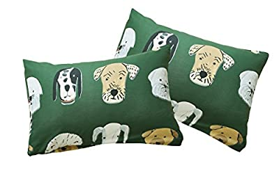 Tenghe 3 Pcs Duvet Cover Sets Funny Dog Print Cartoon Bedding Sets for Children Boys Girls Adults Green Bedding Quilts Covers