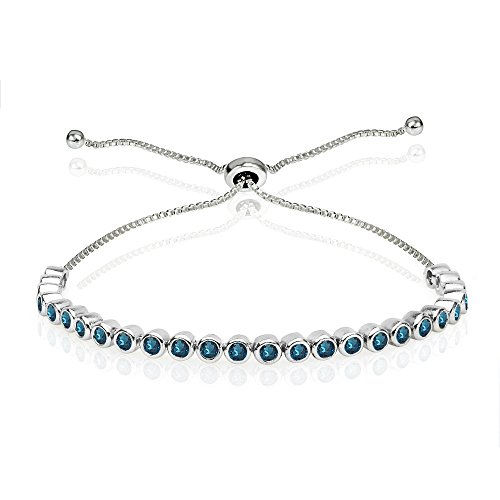 Sterling Silver London Blue Topaz 2mm Round Bezel-set Adjustable Dainty Tennis - Bracelet Blue Topaz Pendant