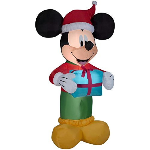 Lighted Mickey Mouse with Santa Hat