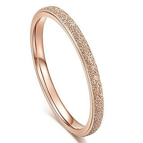 Wausa 18K Rose Gold Ultra-fine Tail Ring Titanium Steel Womens Wedding Band Size 3-12   Model RNG - 23552   4