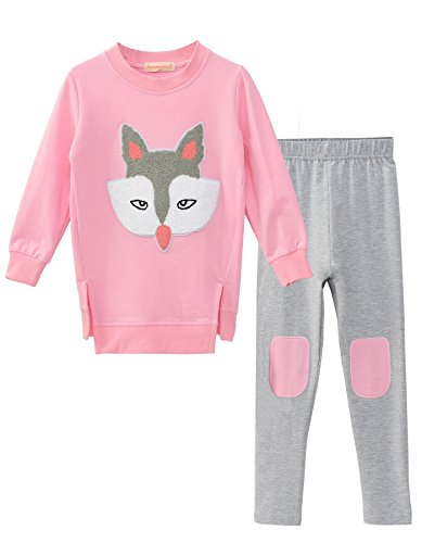 Ancia Little Girls Fox Sweatshirt Top Pants Set Clothes Outfits(Fox Pink,140) , Fox Pink , #140(7-8Years)
