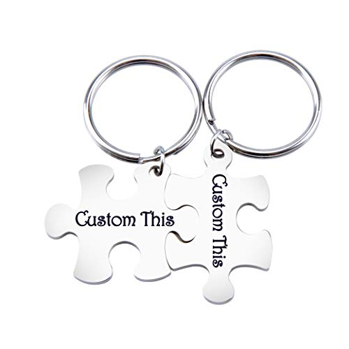 Fanery Sue Matching Puzzles Personalized Keychain Name Keychain Custom Engraved Key Chain ID Key Tag for Couples Best -