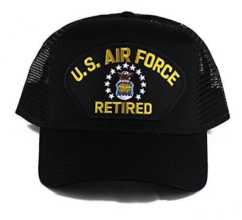OldSchoolUSA Military U.S. Air Force Retired Large Embroidered Iron On Patch Snapback Trucker Cap (Black)