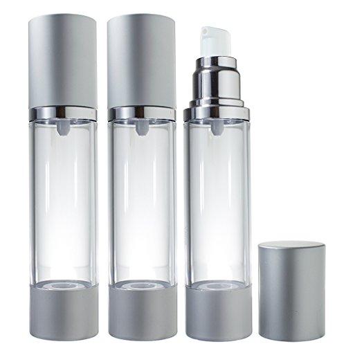 Airless Pump Bottle Silver Matte - 1.7 oz (3 Pack)