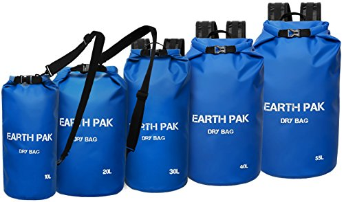 Earth Pak Waterproof Dry Bag - Roll Top Dry Compression Sack Keeps Gear Dry for Kayaking, Beach, Rafting, Boating, Hiking, Camping and Fishing with Waterproof Phone Case