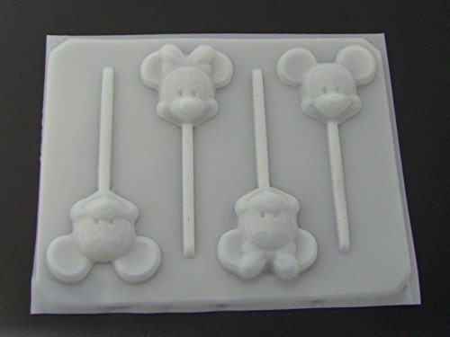 Famous Male Female Mouse Face Hard Candy Lollipop Mold Mickey Minnie (Minnie Mouse Lollipops)