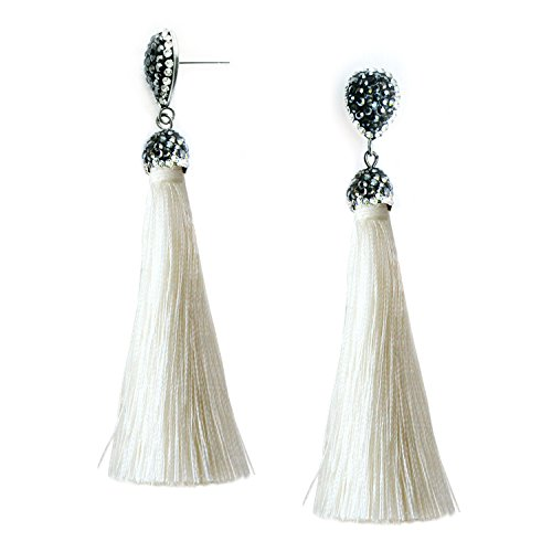White Tassel Long Earrings Bohemian Statement Fringe Dangle Drop Earrings for Women Girls with Rhinestone Teardrop Studs ()