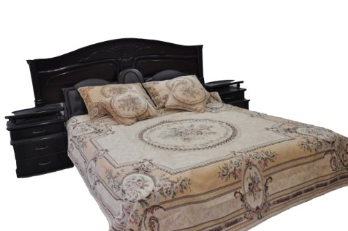 Tache 3 Piece Victorian Chenille Woven Medallion Yellow Desert Blossoms Quilt Bedspread Set, Full