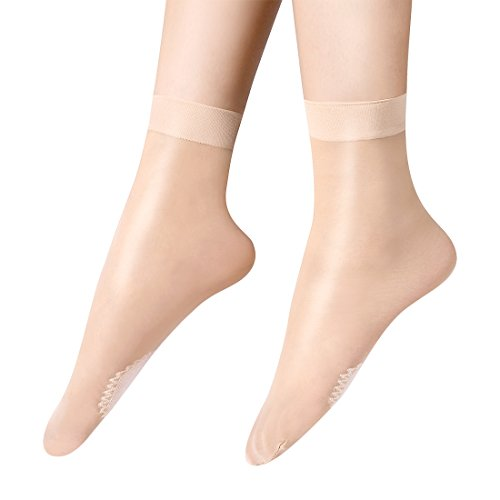 Anliceform Women Fashion Sexy Silky Socks, Anti-Slip Cotton Sole Sheer Ankle High Tights Hosiery Socks by Anliceform