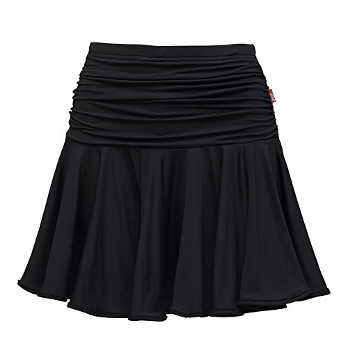 [Full Nice Latin Dance Skirts(Black,S)] (Dance Costumes For Competition For Adults)