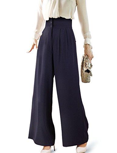 DELUXSEY Wide Leg Dress Pants For Women Long Belted High Waist Pants (Navy, XS) (Silk Slacks Pants)