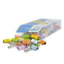 Rapesco Accesorios - Caja de 80 pinzas / clips de 19mm, hasta 75 hojas con sonrisas en colores variados