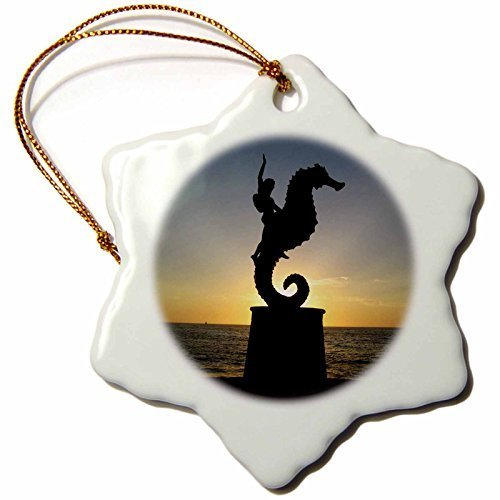 Gloria Yerkes Puerto Vallarta Malecon Boy on Seahorse Statue Silhouetted Against Sunset Snowflake Porcelain Hanging Ornament, ()