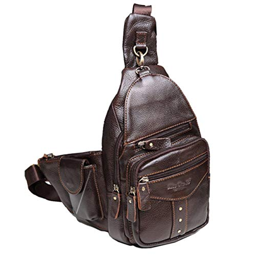 - 2019 New Men's Genuine Leather Cowhide Sling Chest Bag Travel Riding Hiking Studded Cross Body Messenger Shoulder Day Pack Rivets