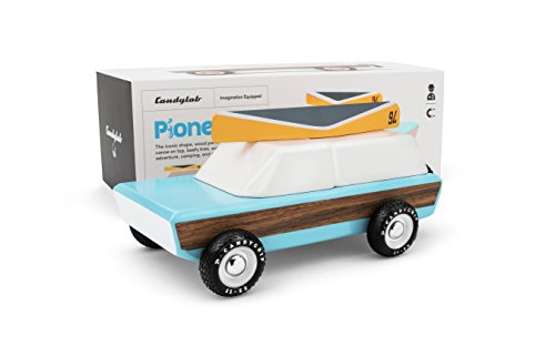 Candylab Toys Pioneer Wooden Car With Canoe - Modern Vintage Style - Solid Beech - Vintage Toy Wooden