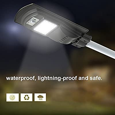 Solar Powered Street Light Dusk to Dawn,20W Waterproof Outdoor Security Solar Street Light,Commercial or Industrial Grade Security Street Lights Perfect for Outdoor Lighting Area