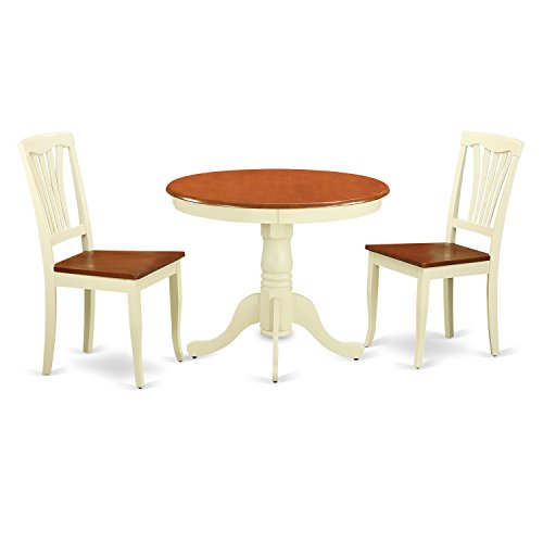 3 Piece Kitchen Dinette (East West Furniture ANAV3-WHI-W 3-Piece Kitchen Table and Chairs Set, Buttermilk/Cherry Finish)