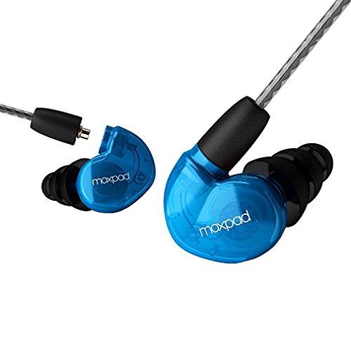 GranVela® Moxpad X6 Geräuschisolierenden Musiker In-Ear Monitore Kopfhörer mit abnehmbare Kabel / Memory-Draht / Mikrofon / 3.5mm Jack Earbuds für Bühne und Studio Monitoring - blau