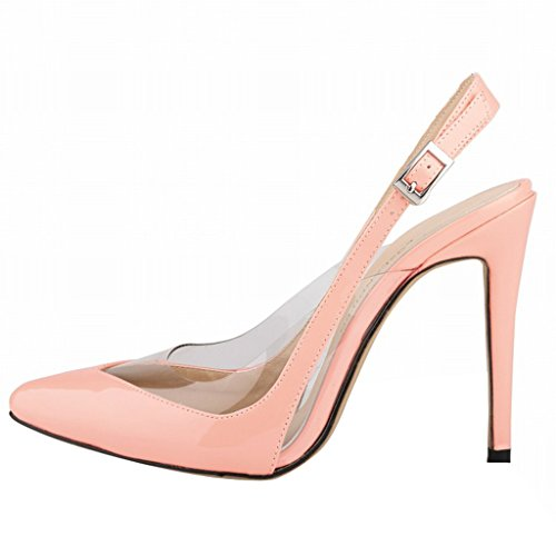 Summer High Sandals Transparent Women Splicing Stilettos Toe Ankle Close Wotefusi Strap Heels Pink Shoes 5RvqFxxwn