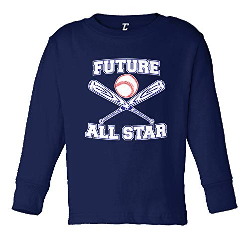 - Tcombo Future All Star - Baseball Long Sleeve Toddler Cotton Jersey Shirt (Navy Blue, 3T)