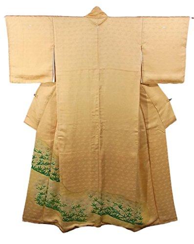 ひまわり金額ただやるリサイクル 着物 色留袖 三つ紋 たんぽぽのような植物 正絹 袷 裄63cm 身丈165cm