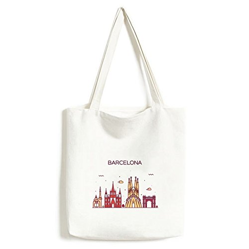 Barcelona Spain Flat Landmark Pattern Fashionable Design Canvas Bag Environmentally Tote Large Capacity Shopping Bags by DIYthinker