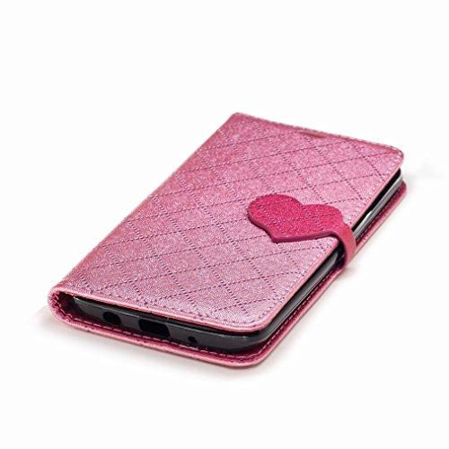 Yiizy LG K7 / X210 / X210DS / MS330 Custodia Cover, Amare Design Sottile Flip Portafoglio PU Pelle Cuoio Copertura Shell Case Slot Schede Cavalletto Stile Libro Bumper Protettivo Borsa (Rosa)