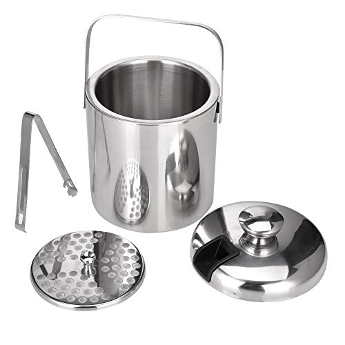 Stainless Steel Ice Cube Container Double Walled 1.3L Ice Bucket Container with Tongs Lid