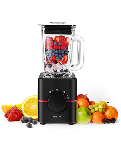 BESTEK Smoothie Blender, 550W All-in-one Countertop Blender Food Processor with 1.5L Glass Jar for Smoothie Making(big)