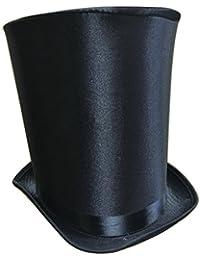 "9.25"" Extra Tall Victorian Coachman Silk Satin Black Top Hat Magician Costume"