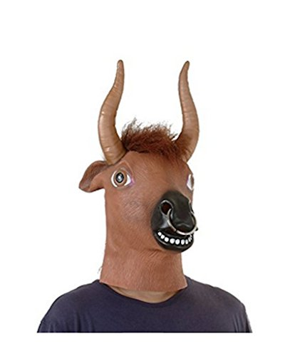 Pictures Of Weird Halloween Costumes (sirwolf Latex Animal Head Mask For Halloween Costume Cosplay Party Deluxe Novelty Gift (Cow))