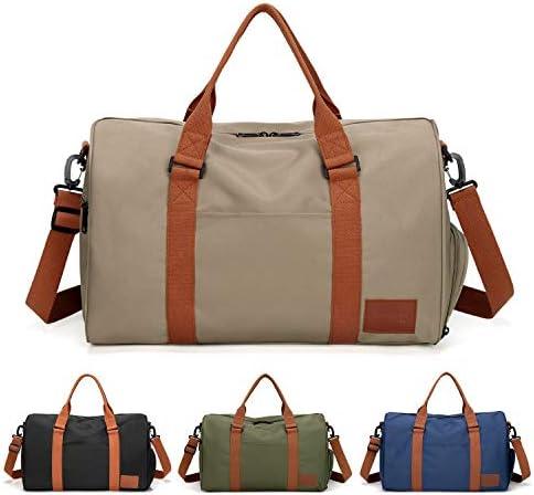 FEDUAN Handgepäck mit Schuhfach Trainingstasche Fitnesstasche Gym-Tasche Sporttasche hochwertige Reisetasche Schultergurt Herren und Damen grün blau schwarz Khaki beige, Freizeit Training und Reise