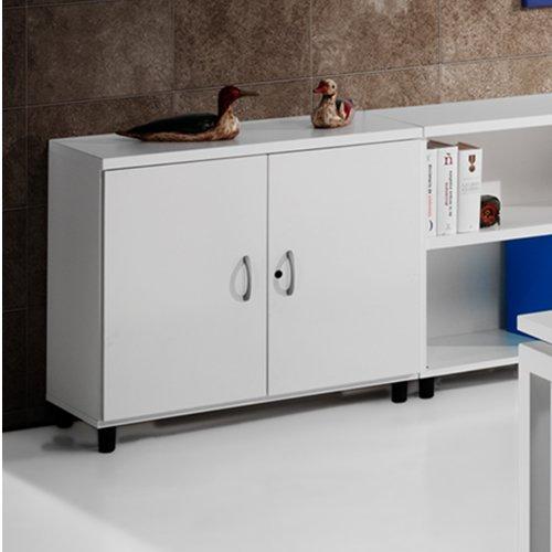 Armario de Oficina, Bajo, Puertas con Cerradura. 92x42x78 cm. Color Haya. Euromof