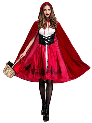 Women Little Red Riding Hood Costume Christmas Halloween Party Dress with Cape -